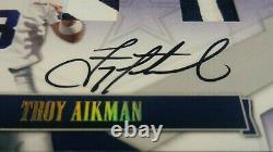 #1/4 TROY AIKMAN ON CARD AUTO SSP DUAL GAME USED PATCH 2008 Donruss/2016 Honors