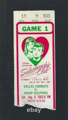 1983 NFL Miami Dolphins @ Dallas Cowboys Football Ticket Dan Marino First Game
