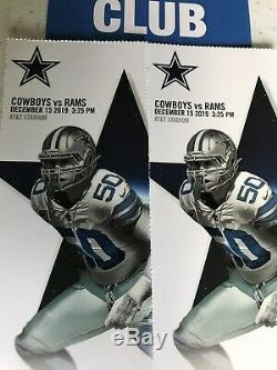 2 Tickets 2019 Dallas Cowboys VS Rams (Single Game) + Parking Pass 12-15-19