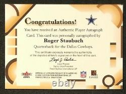 2001 Fleer Greats of The Game Roger Staubach On Card Auto Autograph SP 2002