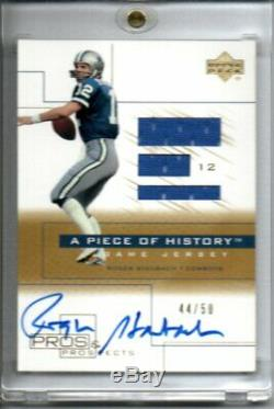 2001 UD Pros & Prospects Football Roger Staubach Game Jersey Auto SP Gold 44/50