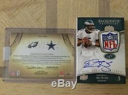 2009 Exquisite 1/1 Dual Auto Tony Romo Donovan McNabb Game Used NFL SHIELD LOGO