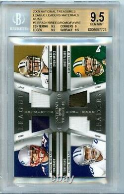 2009 National Treasures Quad Game Used Jersey Tom Brady Brees Romo Favre BGS 9.5