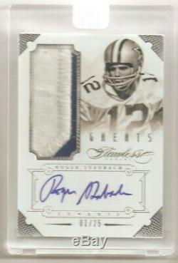 2014 Flawless Roger Staubach Game Worn Jersey Patch Auto 1/25 Factory Sealed