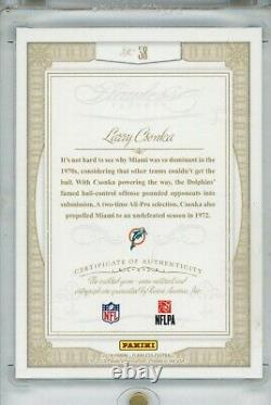 2014 Panini Flawless On-Card Auto Game-Worn Patch Larry Csonka #04/25 Dolphins
