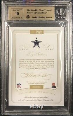 2015 Flawless 4/10 Troy Aikman 3 Color Game Used Patch Auto BGS 9.5/10 Cowboys