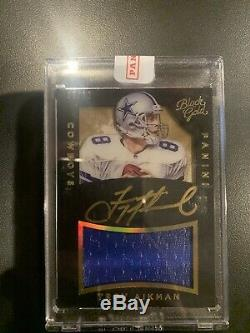 2015 Panini Black Gold Football Troy Aikman COWBOYS Gold Ink AUTO 5/10 Game Used