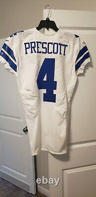 2016 Dallas Cowboys Dak Prescott Rookie year Game Issued White Jersey