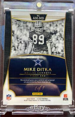 2016 Panini Select Mike Ditka True 1/1 Black Finite 2 Color Game worn Patch Auto