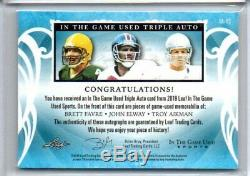 2019 Elway Aikman Favre Leaf In The Game Used Triple Auto Relic Magenta Sp # 2/2