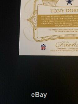 2019 Flawless Football Tony Dorsett 8/15 Game-Used Patch Auto Dallas Cowboys HOF