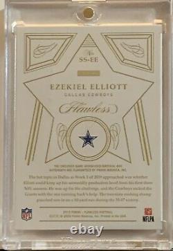 2020 Flawless Ezekiel Elliott 1/5 AUTO GAME USED 2 CLR STAR SWATCH RUBY Cowboys