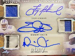2020 Leaf In The Game Used Auto Troy Aikman Emmitt Smith Michael Irvin 1/2