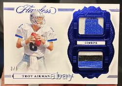 2020 Panini Flawless Troy Aikman Legendary Materials 3/5 Game Used Patches SSP