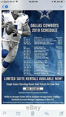 4 Dallas Cowboys Lower Level 2019 Season Tickets (10 Games) & Lot 10 Parking