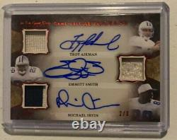 AIKMAN SMITH IRVIN 2020 Leaf ITGU In The Game Used TRIPLE AUTO PATCH 2/3 Cowboys