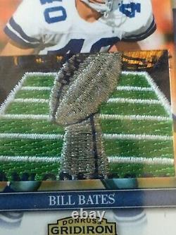Bill Bates 2007 Donruss Gridiron Game Used Logo Shield Jersey Patch Cowboys /15