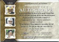 Brett Favre, Troy Aikman, John Elway In the Game ITG Triple Auto / Jersey 2/4