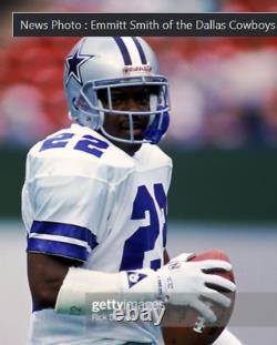 Dallas Cowboys 1990 Emmitt Smith Game Used Football Pair Sweatband Wristband COA