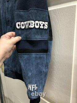 Dallas Cowboys Men Leather Jacket M Black Blue Suede NFL Game Day Varsity Coat