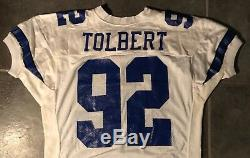 Dallas Cowboys Tony Tolbert Vintage Game Worn 1993 Russell Jersey Size 52 L