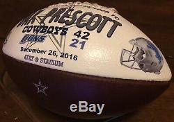 Dallas Cowboys vs Lions Dak Prescott Presentation Game Used Ball Wilson Football