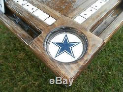 Domino Tables by Art with Dallas Cowboys Cubholders & Real Woodcraft Domino Inlay