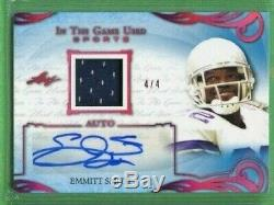 Emmitt Smith 2019 Leaf In The Game Used Jersey Autograph 4/4 Cowboys Auto Hof