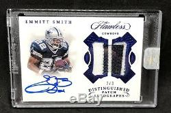 Emmitt Smith Auto 2018 Flawless Autograph #2/3 Game Used Worn Swatch COWBOYS