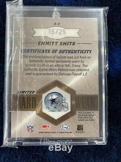 Emmitt Smith Leaf Limited Prime Hard Wear Game Used Helmet 2003 Rare 16/25