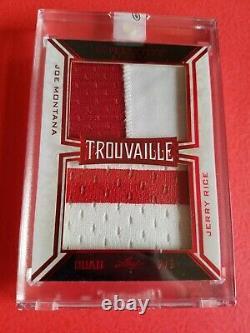 Joe Montana Jerry Rice Troy Aikman Michael Irvin Game Used Jersey Card #2/2 Leaf