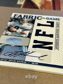 Leaf Certified Fabric Of The Game Troy Aikman Auto Autograph Jersey Card #/5