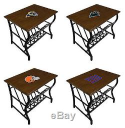Nightstand Magazine Table with NFL Team Logo Decal Cappuccino Finish Man Cave
