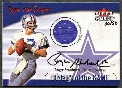 Roger Staubach 2001 Fleer Genuine Names Of The Game Jersey Auto Autograph /50