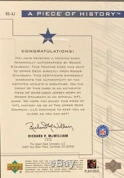 Roger Staubach On Card Autograph And Game Used Jersey 2001 Ud Pros And Prospects