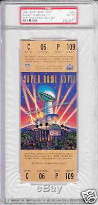 Super Bowl 27 (Cowboys 52 Bills 17) full unused game ticket graded PSA 8 NrMt-Mt