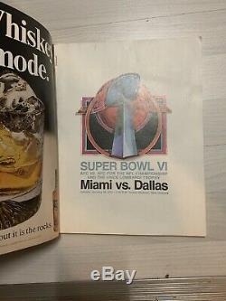 Super Bowl VI (6) Official Game Program/ A Beauty/cowboys Top Miami