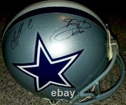 Troy Aikman Emmitt Smith autographed signed Cowboys PRO LINE GAME helmet (PROVA)